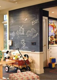 Chalkboard paint above a white-painted wainscoting.  Love.