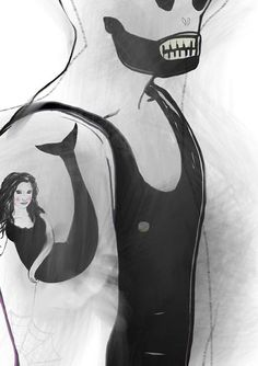 Mermaid  A4 print illustration tatoo tatoos tanktop by Henneberg, $23.00
