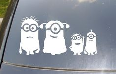 """I don't normally like the """"family"""" car stickers, but this is great!!!! Minions Family Car Sticker set of 4 on Etsy, $10.00"""