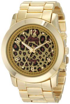 Breda Women's 2308-Gold/Leopard Jordan Oversized Boyfriend Leopard Dial Watch, (boyfriend watch)