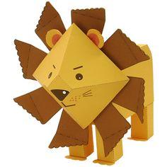 Lleó 3D canon, paper zoo, idea, geometr paper, animals, paper lion, lion craft, paper crafts, kid