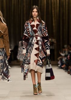Geometric knit blanket coat at #FW14 Burberry show. #trend