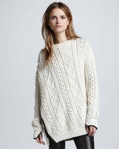 3.1 Phillip Lim Oversized Cable Knit Pullover Ivory