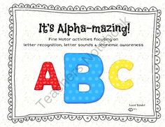 Its Alpha-mazing! from Lovin' Kinder on TeachersNotebook.com -  (186 pages)  - This set contains 180+ pages of fine motor activities that focus on letter recognition and letter sounds!