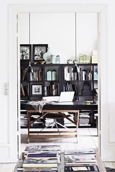 decor, studio, interior, work space, black cabinets, book, desk, office workspace, home offices