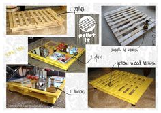 Pallet It in a yellow table. Pallet It -> facebook #pallet