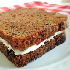 Toasted banana bread with lightly sweetened cream cheese.