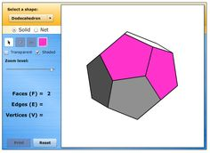 Geometric Solids: This tool allows you to learn about various geometric solids and their properties. You can manipulate and color each shape to explore the number of faces, edges, and vertices.