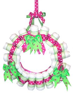 Diaper wreath with bows