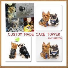 Personalized Wedding Cake Topper Figurine Clay Sculpted from your dog