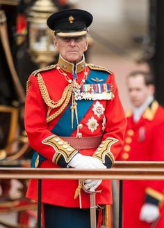 Trooping the Colour    The Duke of Edinburgh inspects troops outside Buckingham Palace during  the annual Trooping the Colour parade, 16 June 2012.Copyright Press Association