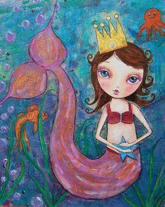 Whimsical mermaid painting, girl, print, woman, 8 x 10, art, wall decor, kids, artwork