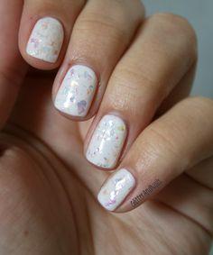 Essie Marshmallow + Color Club Covered In Diamonds  http://glitterandnails.blogspot.fr