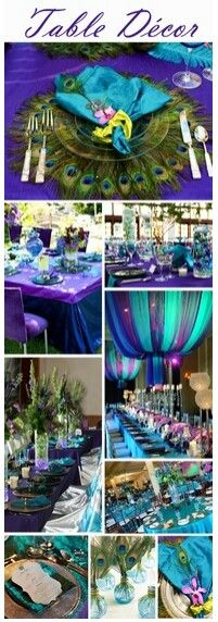 Peacock theme table decor for your quinceanera