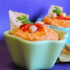 Spiced Sweet Roasted Red Pepper Hummus | Sweet. Spicy. Easy. That's an award winning trio.