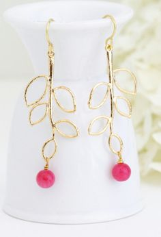 Hot PInk Gold Leaf Earrings Gold