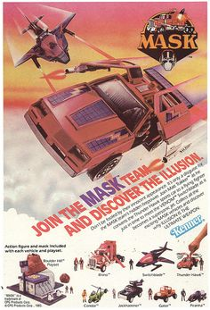 1986 Kenner ad for MASK toys - I had the Rhino, Switchblade and Thunder Hawk