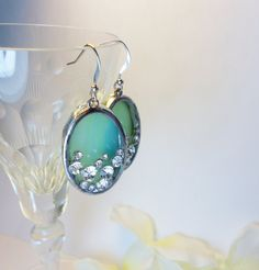 Romantic Sea Green Turquoise Stained Glass by jacquiesummer, $23.00