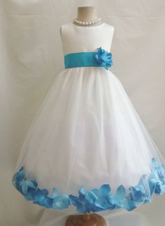 Flower Girl Dress- bubble style skirt with sheer over and petals inside bubble...