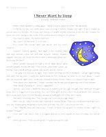 I Never Want To Sleep – Third Grade Reading Comprehension Test: Use the information in the story to answer the 5 comprehension questions. Answer Key Is Included.    I Never Want To Sleep – Third Grade Reading Comprehension – Click Here    Information: Third Grade Reading Comprehension. 3rd Grade Reading Comprehension Test Practice.