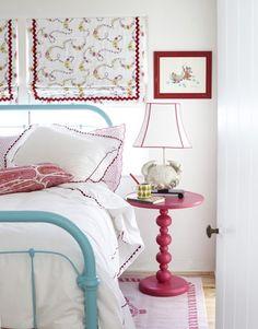 red & aqua bedroom