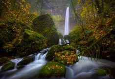 """November Rain""    Columbia Gorge, Oregon    Oregon's Elowah Falls photographed in the rain amidst fall colors."