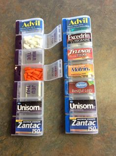 Great use for the 'days of the week' pill organizers. Labels took about 10 minutes to make. Great for RV and home.