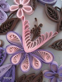 Картина панно рисунок Квиллинг Шоколадно-сиреневое панно Бумажные полосы Картон Клей фото 10