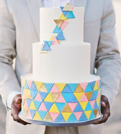 Neon geometric cake! | Green Wedding Shoes