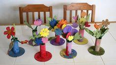 Cute toilet paper roll / cardboard flower vases