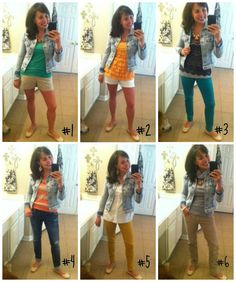 3 of my wardrobe basics styled in 6 different outfits for all 4 seasons.  The wardrobe basics include:  my favorite denim jacket (ON SALE NOW!), a pair of nude flats, and a statement necklace!
