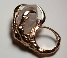 the messenger. crow claw & quartz crystal ring. rose gold vermeil..