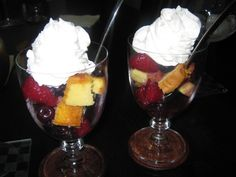 Kaluah soaked fruit and Poundcake parfaits. These were awesome.