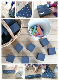 chalk blocks - DIY with wood blocks and chalkboard paint...endless possibilities!