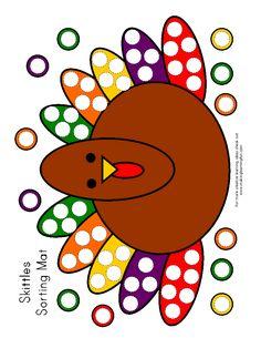 skittles sorting turkey board. fun.
