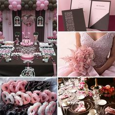 Pink and chocolate wedding inspiration board