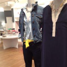 Triple Denim: Jean Jacket + Chambray shirt + Black Skinnies + Yellow Belt Found on rosealamode.com