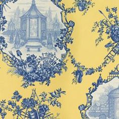 GARDEN TOILE - YELLOW. Image: Calico Corners. #fabric #blue #yellow