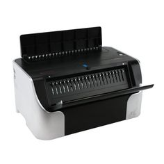 """The OfficePro-21E Plastic Comb Binding Machine by Tamerica is ready to tackle your plastic comb binding needs with electric punching and manual binding. Offering easy electric punching and convenient disengageable punching dies, the OfficePro-21E will make your binding life easier and faster. Increase productivity with a 2"""" binding capacity and lower punching fatigue with a 20 sheet electric punching capacity."""