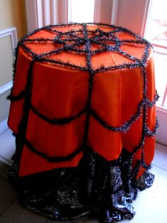 Halloween spider web table