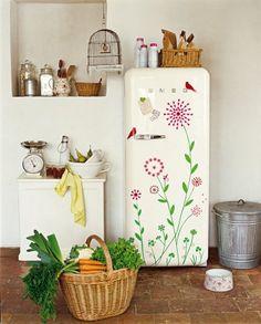 customized fridge decor, kitchens, idea, garages, design interiors, decals, hous, wall stickers, smeg