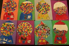 students reviewed color mixing ideas and used their skills to make an array of assorted colorful gumballs using only the primary colors. They had to blend colors, using only red, yellow, blue, black and white.""