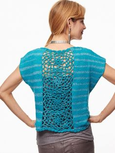 Glamorous Top with lace back| Free Knitting Patterns Yarnspirations