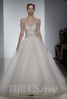 "Brides.com: Kenneth Pool - Spring 2014. ""Giada"" tulle ballgown with intricately hand beaded V-neck bodice, Kenneth Pool"