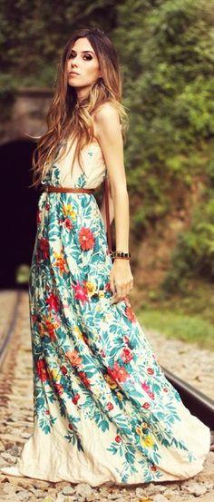 Floral long maxi dress fashion