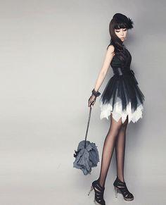 ms black, fashion sens, beauti dress, latest fashion, korean fashion, designer clothing, china