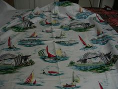 Fabulous novelty print fabric with bridges and sailing boats, I do love a novelty print!
