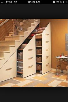 Basement Storage Idea; good use of under stair storage