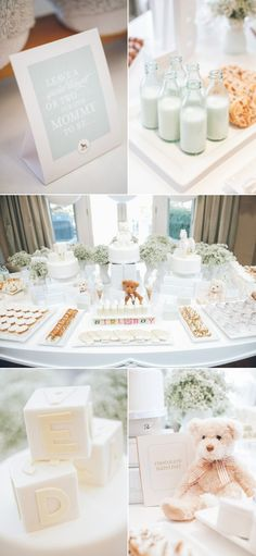 Elegant White Baby Shower Decor.