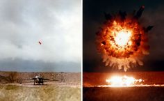 STRANGE MILITARY PHOTOS - BOMB EXPLODING DIRECTLY OVER A MILITARY JET ON THE GROUND!